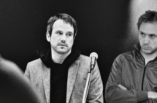 Michael Rebhahn mit Johannes Kreidler. Foto: Hufner