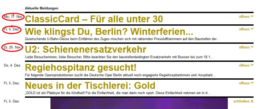 Deutsche Oper Berlin aktuell. Screenshot