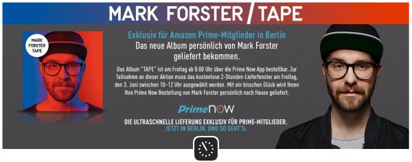 Mark Forster bei Amazons Lieferservice. Screenshot