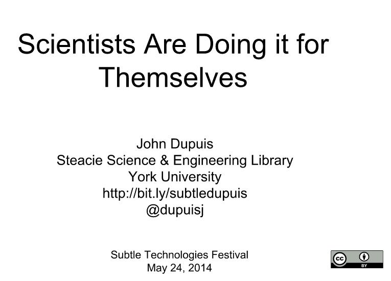 John Dupuis Open Science presentation at the Subtle Technologies Festival