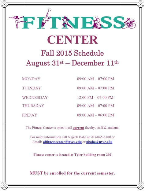 Fitness Center Fall 2015 Hours