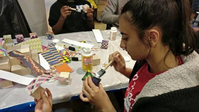 Yasemin decorate blocks for kids