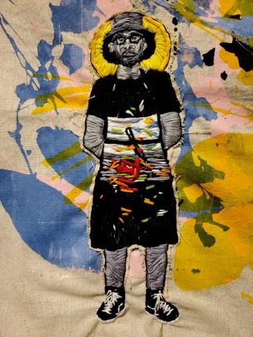 14A. Detail El Serigrafista y Sus Manchas Collaboration with Julio Cubillos, Embroidered Screen
