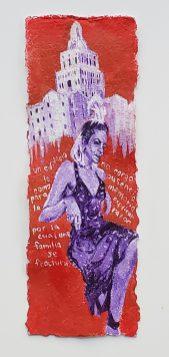 "9. Un Edificio No Carga La Ausencia Como Memoria - Andrea, Acrylic on Handmade Paper, 18"" x 6.5"", 2019, $240"