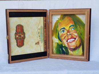 """5. Linda, Acrylic on cedar cigar box, 12"""" x 19"""", 2020, $420"""