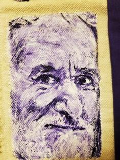 "13A. Detail: Caras Moradas en Oro, Acrylic on Unstretched Canvas, Cloth, Thread, Needle, 37"" x 13.5"", 2019"