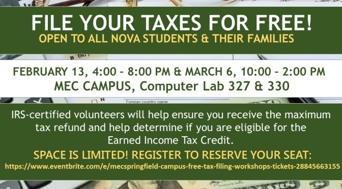 MEC/Springfield Campus Free Tax Filing Workshops