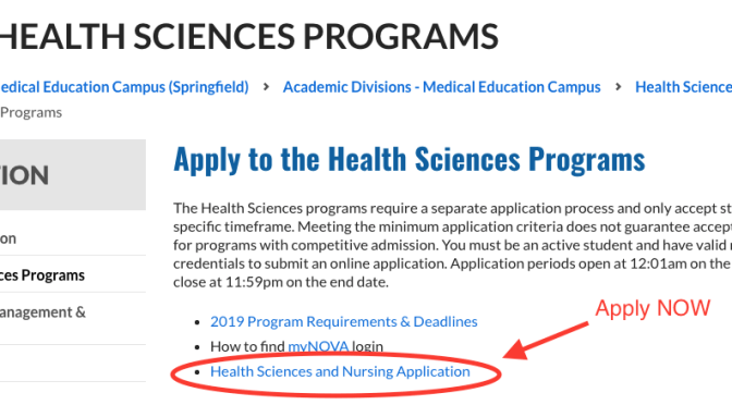 New 2019 Online Health Science and Nursing application available