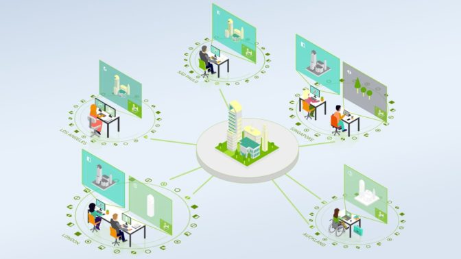 Teams using Omniverse to collaborate in real-time.