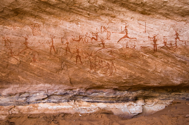 There are more Wikipedia articles in English than Arabic about almost every Arabic speaking country in the Middle East. Image of rock paintings in the Tadrart Acacus region of Libya by Luca Galuzzi.