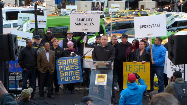 protested fair taxi laws by parking in Pioneer square. Organizers want city leaders to make ride-sharing companies play by the same rules as cabs and Town cars. Image: Aaron Parecki (Flickr).
