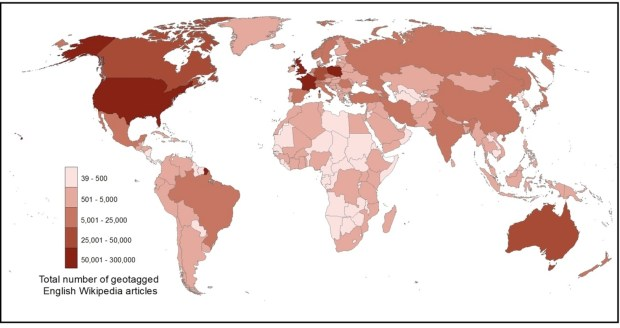 Number of geotagged articles in the English Wikipedia by country. Graham, M., Hogan, B., Straumann, R. K., and Medhat, A. 2014. Uneven Geographies of User-Generated Information: Patterns of Increasing Informational Poverty. Annals of the Association of American Geographers (forthcoming).