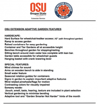 OSU Extension Lane County Adaptive Garden List of Features