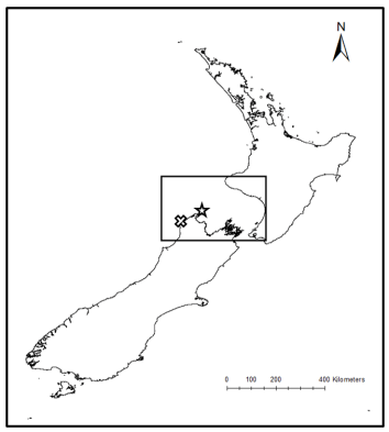 Figure 1. A map of New Zealand, with the South Taranaki Bight (STB) region delineated by the black box. Cape Farewell is denoted by a star, and Kahurangi point is denoted by an X.