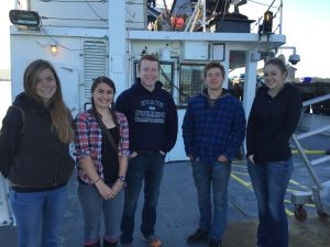 Coast high school and undergraduate students on board the R/V Oceanus
