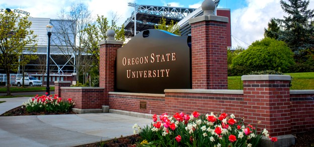 Image of Oregon State University sign overlooking Reser Stadium