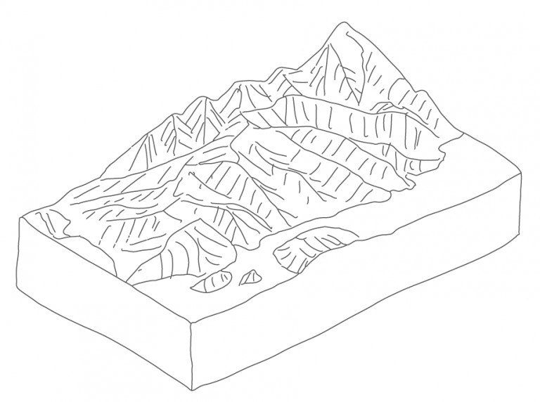 3D Block diagram incorporating topography (using some non