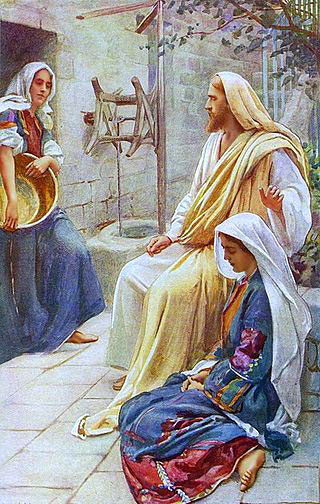 Resultado de imagen para En aquel tiempo, Jesús entró en un pueblo; y una mujer, llamada Marta, le recibió en su casa. Tenía ella una hermana llamada María, que, sentada a los pies del Señor, escuchaba su Palabra, mientras Marta estaba atareada en muchos quehaceres. Acercándose, pues, dijo: «Señor, ¿no te importa que mi hermana me deje sola en el trabajo? Dile, pues, que me ayude». Le respondió el Señor: «Marta, Marta, te preocupas y te agitas por muchas cosas; y hay necesidad de pocas, o mejor, de una sola. María ha elegido la parte buena, que no le será quitada».