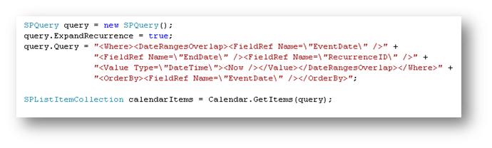 Retreiving Recurring Events from a SharePoint Calendar list