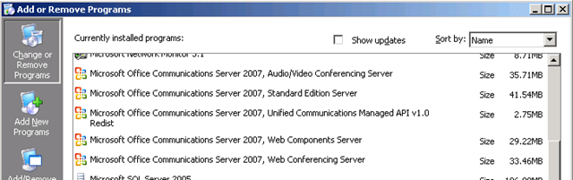 Uninstalling OCS 2007 - Perficient Blogs
