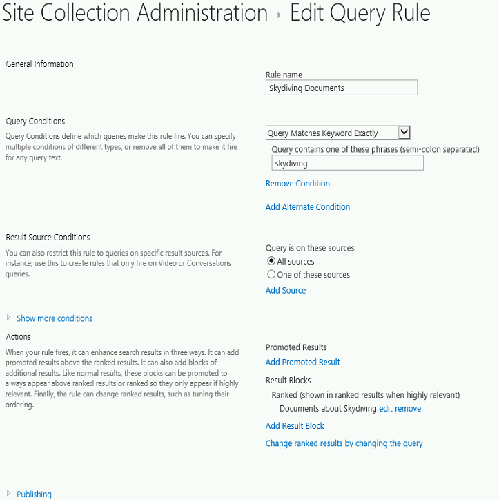 Site Collection Administration Edit Query Rule