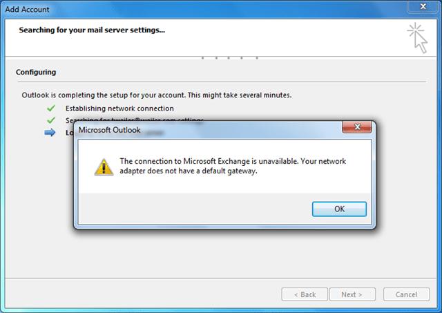 Outlook 2013 and no Default Gateway - Perficient Blogs