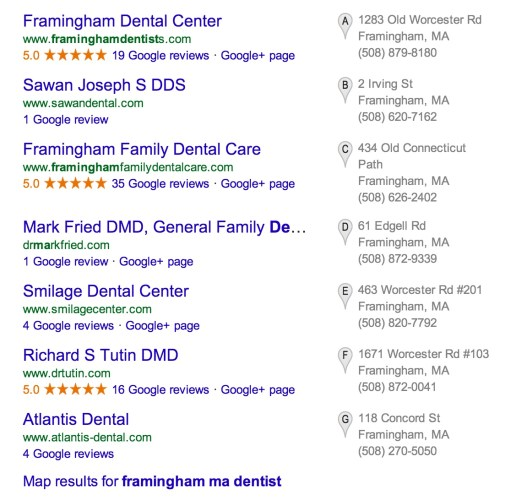 Google Local Results 7-Pack