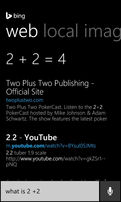 Cortana What is 2 plus 2 Result