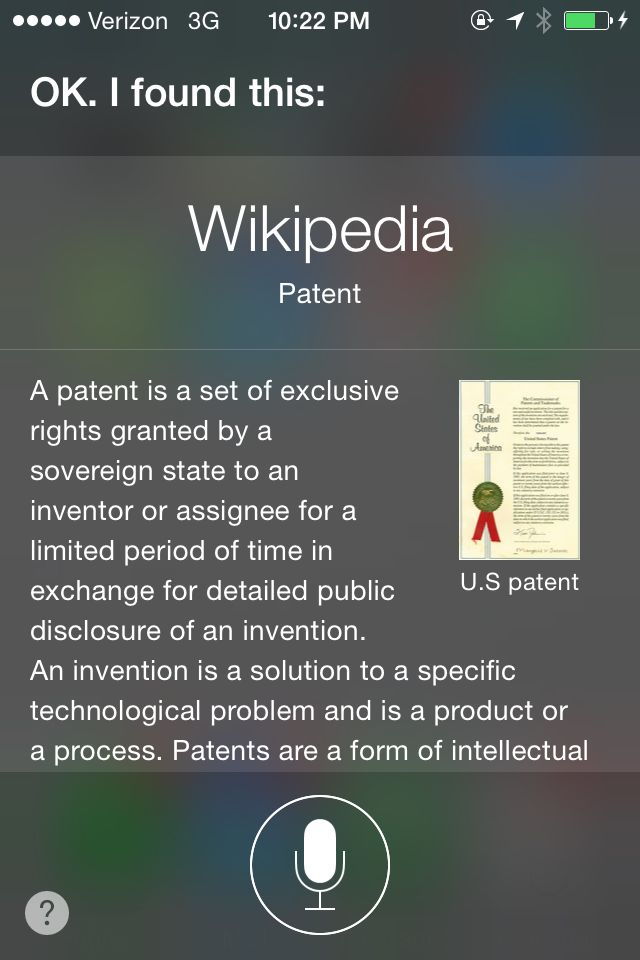 Siri Who has the Most Patents Result