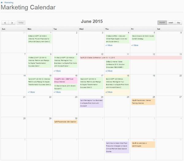 Pardot marketing calendar