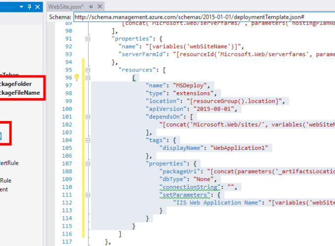 Deploy Azure Web App using ARM Template from Visual Studio 2015