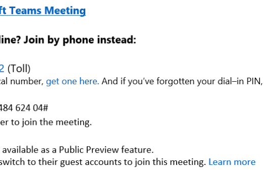 Office 365 - Microsoft Teams and Dial In Conferencing in