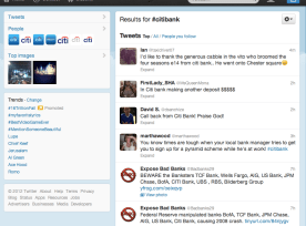 Twitter search on @citibank September 5 2012