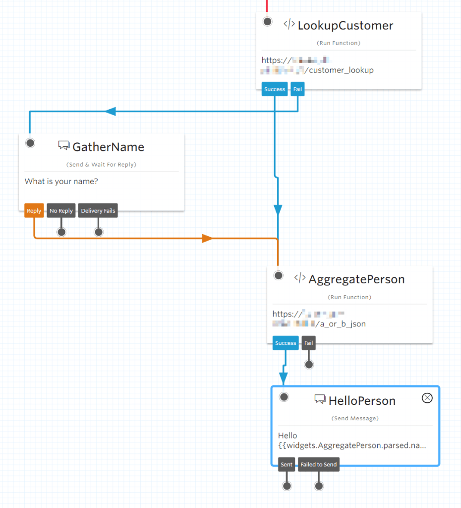 Aggregate flow with customer lookup, name gathering, and aggregating branches into hello person
