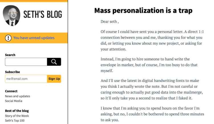 Seth's Mass Personalization is a Trap Blog screenshot