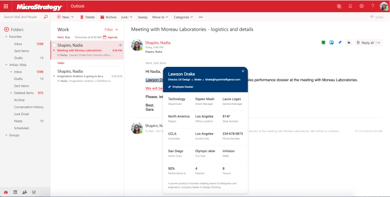 MicroStrategy's HyperIntelligence in Office 365 Outlook.