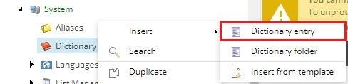 sitecore dictionary entry