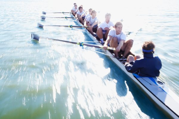 Men In Row Boat Oaring