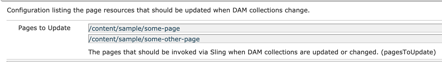DAM collections pages configuration