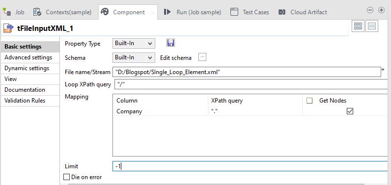 Single Loop Component Settings