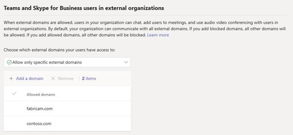 Screengrab of Teams Admin CenterExternal Access Page