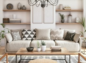 Modern Scandinavian Living Room Interior 3d Render