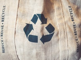 Recycle Sign Symbol On Shopping Bag Environmental Friendly