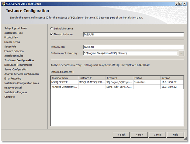 how to create an instance in sql server 2012