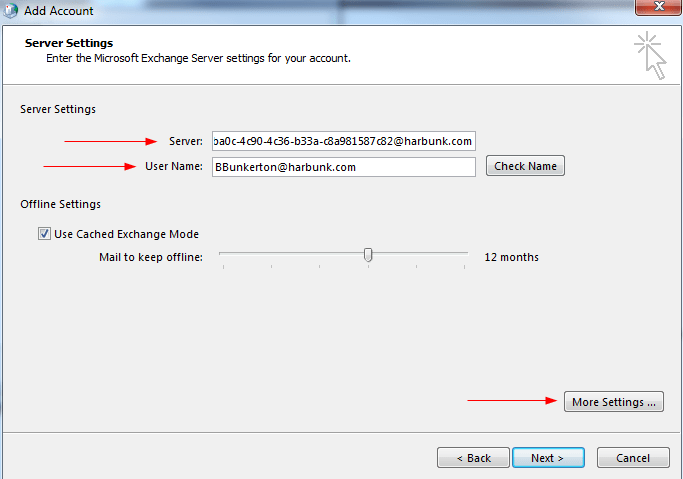 Manually configuring outlook for office 365 exchange 2013 - Office 365 server settings for outlook 2010 ...