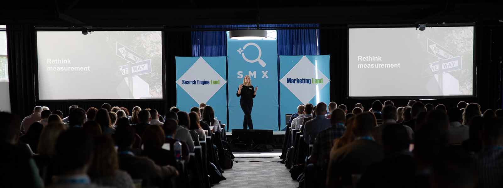 A speaker speaking on main stage at SMX Advanced at 2019 SMX Advanced in Seattle, WA
