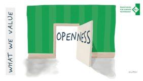 An open door and the word Openness, in ALT branding.
