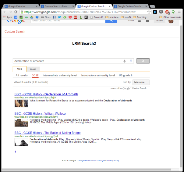 Google search for declaration of Arbroath filtered for those resources that are useful for UK GCSE exams.