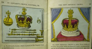 "Illustration of the ""New Imperial Crown"" (not depicted in the 1820 ed.), with the crown formerly-known as the ""Imperial Crown"" (now labeled ""St. Edwards Crown"")."