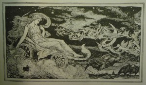 A midsummer night's dream, or nightmare, in the nighttime sky? Ford's frontispiece from Lang's anthology of verse, the Blue Poetry Book (Longmans, 1891), depicting a scene worthy of any Halloween